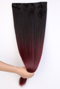 Fashion Sexy Two Tone Long straight Clip in Hair Extensions Pieces Dark brown to Plum Red 60cm ombre dip dye