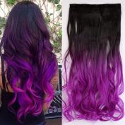 60cm Ombre Curly Wavy clip in Hair Extensions 2 Tones Dip Dye Dark brown to Dark Purple