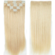 My Lady 41cm Thick Double Weft 8 Pcs 18 clips in Remy Human Hair Extensions Platinum Blonde
