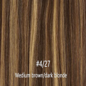 My Lady 46cm Thick Double Weft 8 Pcs 18 clips in Remy Human Hair Extensions Medium Brown/Bleach Blonde Mix