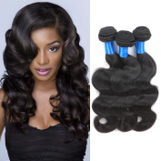 SUPERLOVE Brazilian Body Wave 4 Bundles (18 20 22 24) Inches,Human Hair Weft,100g/Bundle,Natural Colour