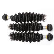 """MSU Peruvian Deep Curly Virgin Hair, 3 Bundles 14""""16""""16"""" ,7A Peruvian Deep Wave, Cheap Deep Curly Human Hair Bundles, Crochet Hair Extension Natural Colour"""