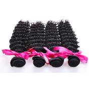 """14""""14""""16"""" 3 Bundles, Peruvian Deep Wave Virgin Hair, MSU Hair Products, 7A Virgin Peruvian Curly Hair, Natural Colour Human Hair Weave"""