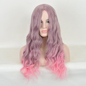 Andao Heat Safe Synthetic Hair No Lace Dip Dyed Long Water Wave Ombre Wig Wigs for Beauty Women