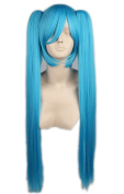 Topcosplay Mayuyu Miku Long Straight Cosplay Ponytail Wigs for Women Halloween Dodger Blue Hair 80CM