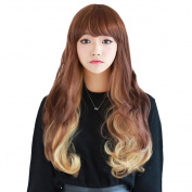 Rise World 28 inch 70cm Women's Harajuku Long Wavy Curly Two Tone Wig Brown Mixed Blonde Flat Bang