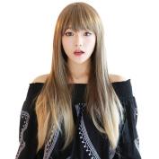Rise World 28 inch 70cm Women's Harajuku Long Wavy Curly Two Tone Wig Flaxen Mixed Blonde Flat Bang