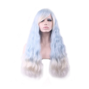 Rise World 28 inch 70cm Women's Harajuku Long Wavy Curly Wig Two Tone Side Bang Wigs Ligh Blue Roots to White