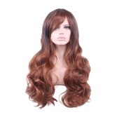 Rise World 28 inch 70cm Women's Harajuku Long Wavy Curly Wig Two Tone Multicolor Carve Full Wig Black mixed Brown