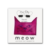 MEOW! Leather Kitty Barrette - Small - Pink