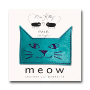 MEOW! Leather Kitty Barrette - Large - Blue