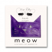 MEOW! Leather Kitty Barrette - Large - Purple