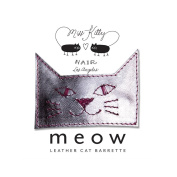 MEOW! Leather Kitty Barrette - Large- Silver