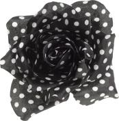 White & Black Polka Dot Rose Hair Clip from Sourpuss Clothing