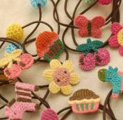 Rimobul 12 Pcs Handmade Crocheted Animal Theme Elastic Hair Ties