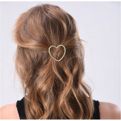 Joyci 1Pcs Women's Metal Heart Hair Pin Ponytail Hair Clip Creative Bobby Pin