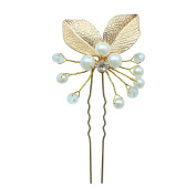 Rarelove Bridal Golden Leaf Beads Faux Pearl Hair Pin Accessory For Wedding Occasions