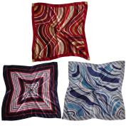3 Scarves - Silk-like Big Square Fashion Scarf 80cm x 80cm - Always Ready Set