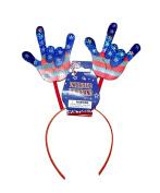 Prismatic USA Flag I Love You Hands Headband