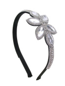 Floral Crystal Flexible Fashion Headband - Clear Crystals