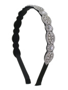 Scalloped Crystal Fill Flexible Fashion Headband - Clear Crystals