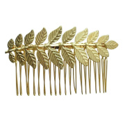 Rarelove Golden Colour Leaf Hair Comb Clip Bridal Accessory For Wedding Occasions