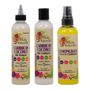 "Alikay Naturals Caribbean Coconut Milk Shampoo + Conditioner + Lemongrass Leave In Conditioner 240ml ""Set"""