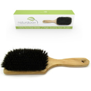 Pure 100% Boar Bristle Paddle Hair Brush For Healthy Hair by Naturaloox