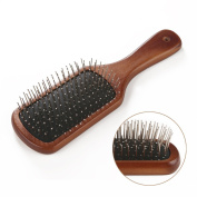 HOMEIDEAS Wooden Handle Massage Hair Brush with Metal Pins Message Comb with Air Cushion