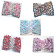Lovef 5 Pcs Double Magic Hair Combs, Fashion Style Beaded Butterfly Bow Hair Clips, MultiColors 5 Colour Mix