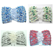 Casualfashion Pack of 4 Handmade Beaded Ez Combs, Stretchable Hair Combs, Hair Clips, Fashion Women Headwear