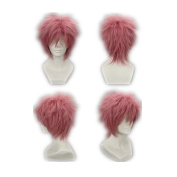 COSPLAZA Cosplay Wig Fairy Tail-Natsu Dragneel Short Pink Anime Full Hair + Free Net