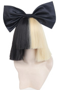Half Blonde and Black 2 Tone Hair Short Straight Cosplay Costume Wig for Women