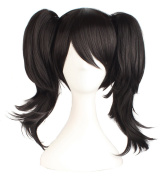 MapofBeauty Black Can Be Equipped With Double Ponytail Hair Accessories Cosplay Wigs