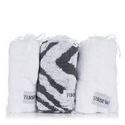 Set of 3 Animal Print 100% Cotton Turbie Twist Hair Towels