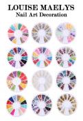 LOUISE MAELYS 12 Wheel Nail Art Decoration 3D Beads set with 2pcs Dotting pen Tip Guides