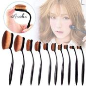Aoohe 10 Pcs Soft Oval Kabuki Pro Toothbrush Makeup Brush Sets Foundation Brushes Cream Contour Powder Blush Concealer Brush