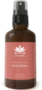 Lotus Knot 100% Pure Rose Water - Skin Toner & Mist, 120ml w/ Spray Top - All Natural - Hydrating Freshener / Healing Cleanser / Tonic - Protect Your Skin