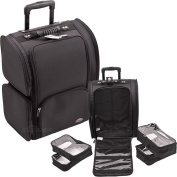 47cm Professional Soft Sided Nylon Black Wheeled Makeup Rolling Case w/ 4 Removable Zippered Clear Bags