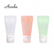 Aoohe 3pcs/set Owl Silicone Travel Kit Tube Squeeze Bottle Shampoo Shower Gel Lotion Sub-bottling Travel Cosmetic Jar
