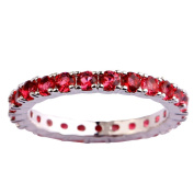 Empsoul Ladies 925 Sterling Silver Natural Chic Filled Ruby Spinel Topaz Eternity Engagement Wedding Ring