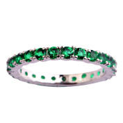 Empsoul Ladies 925 Sterling Silver Natural Chic Filled Emerald Quartz Topaz Eternity Engagement Wedding Ring