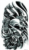 Wonbeauty best and high quality temporary tattoos Black and white skull with roses long lasting and realistic temporary tattoos