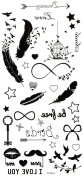 New design and hot selling Feathers,birds,stars,keys,beards,birdcage realistic and fake temp tattoo stickers