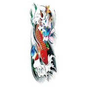 New design and hot selling Full arm red fish with pink lotus realistic and fake temp tattoo stickers for adults