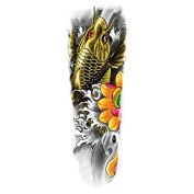 New design and hot selling Full arm yellow fish realistic and fake temp tattoo stickers for adults