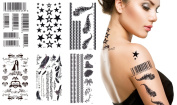 6 Sheets Black & White Art Temporary Tattoo Sticker Barcode Stars Feathers Lace Tattoos