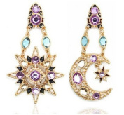 Sunshiny Stars and Moon Rhinestone Crystal Statement Fashion Pendant Earrings