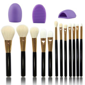DaySeventh 12pcs Brush Kabuki Brush Eye kabuki Makeup Brush Set + Makeup Brush Cleaner