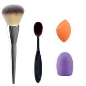 DaySeventh 4pcs Makeup Brush Makeup Sponge Makeup Brush Cleaner Foundation Brush Kits